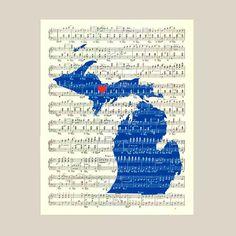 Michigan State Map Art Print Michigan state art by DigiMarthe