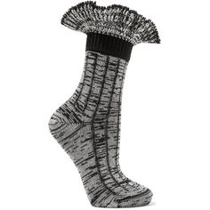 Alexander McQueen Ruffled wool-blend socks (704.300 COP) ❤ liked on Polyvore featuring intimates, hosiery, socks, cuff socks, frilly socks, slouchy socks, ruffle socks and slouch socks