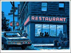"Artist Tim Doyle has recreated iconic establishments from TV shows like ""Seinfeld,"" ""The Simpsons,"" and ""Arrested Development"" for his latest show at Spoke Art. Seinfeld, Pop Art, Big Salad, After Dark, The Simpsons, Print Artist, Art Print, Pop Culture, Art Gallery"