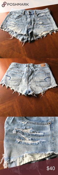 American Eagle shorts High waisted, distressed, festival shorts. In great condition, only worn a couple times. American Eagle Outfitters Shorts Jean Shorts