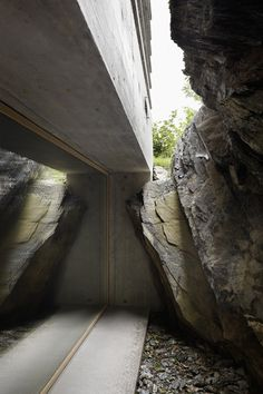 Concrete Log Cabin in the Swiss Alps