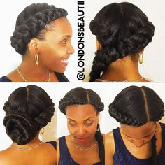 Crown braids and fishtail braid done by London's Beautii in Bowie, Maryland. #Crownbraids #fishtailbraid