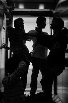Fashion elevator   photo by nadz trn  #fashion #b&w #photo #silouettes #dancers #elevator