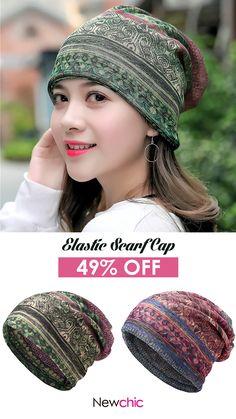 US 8.05 Women s Ethnic Cotton Beanie Hat Vintage Print Stripe Beanie Hats  Outdoor For 174e77c54e7d