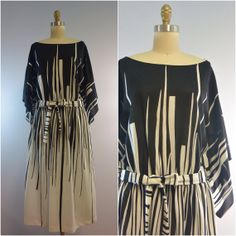Vintage Kimono Sleeve Black And White Graphic Dress by OdettesVintage