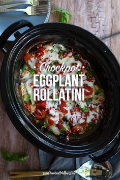 Are you looking for something to make with fresh garden eggplant? Try eggplant rollatini! All you need to do is thinly slice the eggplant, stuff it with spinach and ricotta cheese, and then cook it in the crockpot. Super easy and delicious. Healthy Crockpot Recipes, Slow Cooker Recipes, Gourmet Recipes, Vegetarian Recipes, Cooking Recipes, Crockpot Meals, Freezer Meals, Korean Recipes, Freezer Cooking