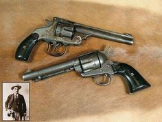 A deadly duo of six-guns! At top is the S&W .44-40 Frontier double action revolver taken from Hardin's body after he was shot by constable John Selman (inset). Selman used the 1873 Colt single action. 45 (above) to end the life of one of the Wests most notorious & dangerous shootists.