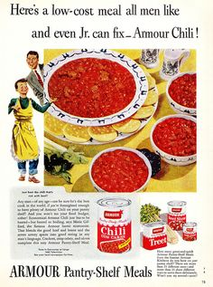 Such a fun early 50s ad for Armour brand Chili. #vintage #1950s #chili #food #ad