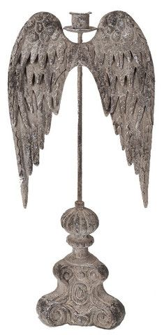From our Blessings Collection. Angel Wings Candle Holder could hang my feather wings on this for dimension!