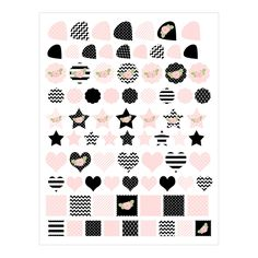 Planner Stickers in Pink and Black with Roses 160 Shape Stickers for Planning Weekdays Weekend Goals School PS011 by HeadsUpGirlsPlanning on Etsy