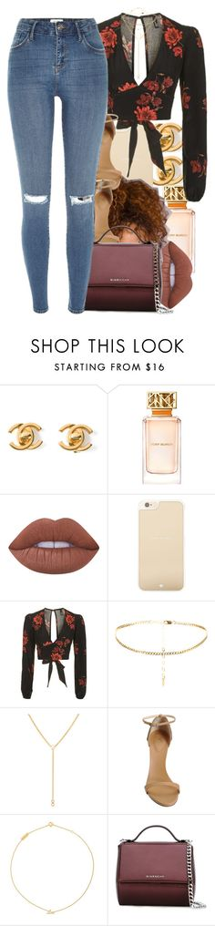 """23 October, 2016"" by jamilah-rochon ❤ liked on Polyvore featuring Chanel, Tory Burch, Lime Crime, Kate Spade, Topshop, Giuseppe Zanotti, Yves Saint Laurent, Givenchy and River Island"