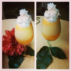"""I had to make a """"Pineapple and Peach"""" Smoothie....  It's  going to be a long night I have to get work done for my class tomorrow. This definitely will help."""