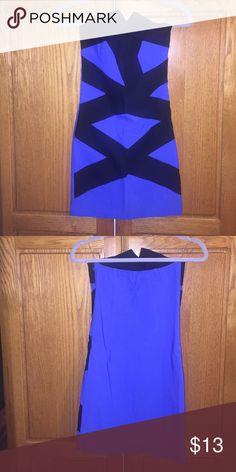 Black and blue dress ! Strapless black and blue color block dress ! Joyce Leslie Dresses Mini