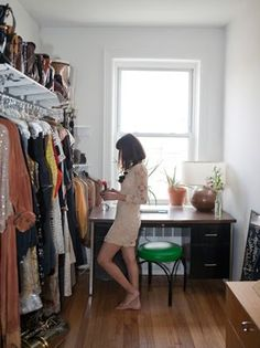 playing with no closet idea...true, but this space can turn into a walk-in closet.   I only see a desk and a hanging area in that small space.   Or, paint the room and make it more lively and stylish.