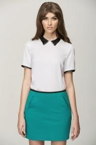 golier Dyt Type 4 Clothes, Preppy, Contrast Collar, Saturated Color, Woven Fabric, Collars, Crew Neck, Dressing, Skirts