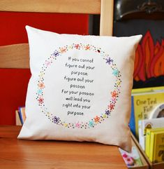 Decorative quote cushion/pillow. Hand Embroidery Inspirational Quote Flower Ring Cushion 'If you cannot figure out your purpose'