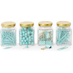 Argento Set of 4 Mint Desk Accessory Jars ($9.99) ❤ liked on Polyvore featuring home, home decor, office accessories, mini paper clips, mini binder clips and mini jars