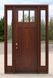 Craftsman Door and Sidelights with Clear glass
