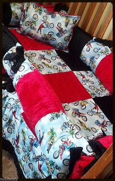 Deluxe Minky, Motocross, Dirt Bike, Crib Set. Red Black. Custom colors available