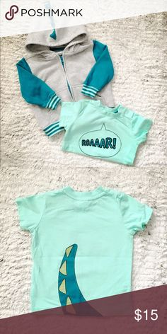 Baby Gymboree Dinosaur Hooded Sweater & Tee Very good condition. Brand: Gymboree Color : Teal, Mint, Gray Size: 12-18 Months ROAR!!! This sweater and shirt set is soooo cute! I bought them as separate pieces but they go together so well. The hoodie has cute dinosaur spikes and the tee has a big ROAR in front and dinosaur tail in back. Gymboree Matching Sets