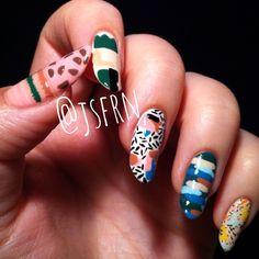 Jane Safarian nail art (@jsfrn_nailart) • Obus clothing inspired nails #pattern #textile