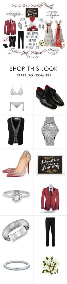 """""""May I present Mr. Michael and Mrs. Lillian Bennett"""" by foreevers ❤ liked on Polyvore featuring Fleur of England, Emporio Armani, Christian Louboutin, Cathy Waterman, American Eagle Outfitters, Blue Nile, Burberry, Paloma Picasso and Luciano Soprani"""