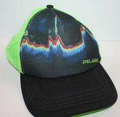 pretty nice 30f58 d1b30 Trucker Hat Pelagic Gear Fish Finder Black Neon Green Mesh Snapback     TruckerHat  pelagic