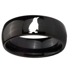 Tungsten Carbide Ring Penguin Conservation Black Shiny Finish Classic Dome Band Engraved Ring ( 5, 8, 10 MM ) Size 4 to 15 by customjewelry14 on Etsy https://www.etsy.com/listing/495593065/tungsten-carbide-ring-penguin