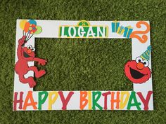Elmo photo frame booth sesame street photo by MKBowtiqueDecor Elmo Birthday, Birthday Board, Baby 1st Birthday, Boy Birthday Parties, Birthday Ideas, Dinosaur Birthday, Sesame Street Party, Sesame Street Birthday, Birthday Frames