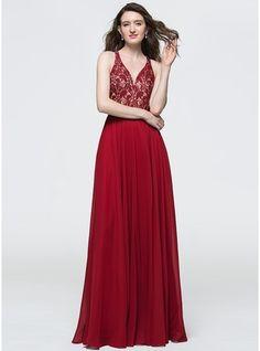 A-Line/Princess V-neck Floor-Length Chiffon Prom Dress With Sequins