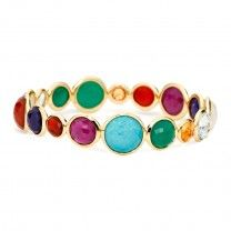 Ippolita's Rock Candy Mini Lollipop Bangle in Riviera Sky palette - so bold, yet will happily compliment every outfit. Need I even say that this bangle definitely plays well with others. Check it out in person at Zadok Jewelers. Gold Jewelry, Fine Jewelry, Women Jewelry, Bangles, Bracelets, Madame, Jewelry Branding, Fashion Earrings, Turquoise Bracelet