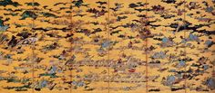 A six section folding screen depicting a large number of buildings, people and trees on a gold background. The various elements are disconnected by the gold background which covers the scene like fog. Japanese Screen, Japan Painting, Gold Background, Design Seeds, National Treasure, Medieval Art, Japan Art, Ancient Architecture, 16th Century