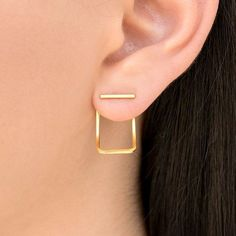 Pair of totally handmade ear jacket earrings, 24K yellow gold plated over 925 solid sterling silver body. Also available in plain sterling silver.