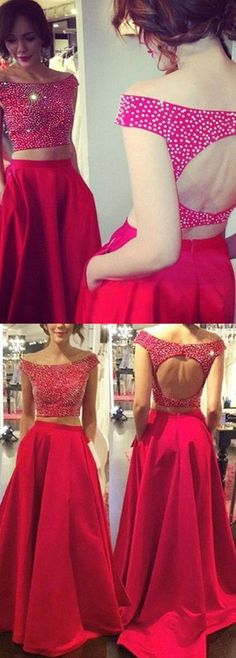 fashion two piece prom dress with beading, sexy 2 piece party dress with beading B0367