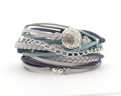 Wrap Bracelet, Silver Gray Blue Bracelet, Silver Gray Turquoise Bracelet, Boho bracelet, double wrap,