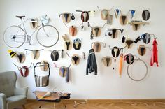 19 Hanging Storage Hacks to Get Your Home Super Organized: Wall Full of Bicycle Antler Trophies