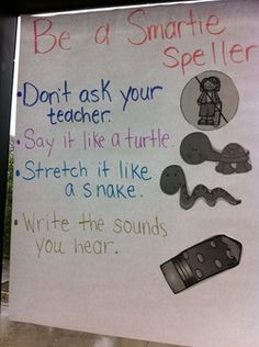 Spelling anchor chart for Kindergarten writers workshop. Say it like a turtle, stretch it like a snake. Kindergarten Anchor Charts, Writing Anchor Charts, Kindergarten Literacy, Kindergarten Writers Workshop, Writing Strategies, Writing Lessons, Teaching Writing, Library Lessons, Writing Process