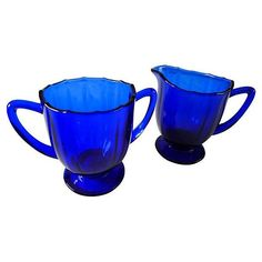 Cobalt blue glass sugar and creamer. No maker's mark. Dimensions: sugar, x creamer, x Cobalt Glass, Cobalt Blue, Vintage Dishware, Vintage Dishes, Blue Dishes, Himmelblau, Blue And White China, Duck Egg Blue, Cream And Sugar