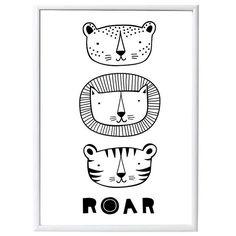 Poster Roar met tijger leeuw en luipaard - A Little Lovely Company