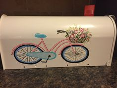 Spring!! Painted mailbox for spring with Bicycle and flowers, charming and dainty, pinks and blues, custom order, one of a kind,house number by Daisycustompainting on Etsy