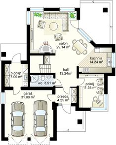 Andromeda N projekt - Parter m² + garaż m² Two Story House Design, Two Story Homes, House Entrance, Ground Floor, Kitchen Design, House Plans, Floor Plans, Flooring, How To Plan