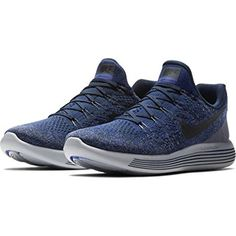 e42cee8e06d NIKE Mens Lunarepic Low Flyknit 2 Running Shoes (College Navy Cool Grey