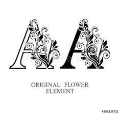 Elegant initial letters A in two color variations with botanical element. Alphabet label sign for company branding and identity.Unique concept type as logotype - Buy this stock vector and explore similar vectors at Alphabet Letters Design, Initial Letters, Letter Logo, Hand Drawn Flowers, Floral Letters, Logo Design Template, Lettering Design, Logos, Illustration
