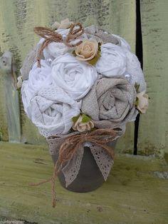 Vintage Stoff Rosen  Shabby Kugelbaum Baum Stoffblumen  Handarbeit