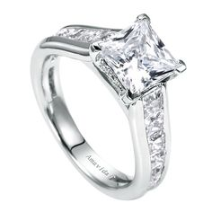 Princess Cut Engagement Ring with Channel Set Band by Gabriel & Co. This White Gold Ring can accomodate center stone, not included. Princess Cut Engagement Rings, Best Engagement Rings, Beautiful Engagement Rings, Vintage Engagement Rings, Solitaire Engagement, Princess Wedding, Vintage Princess, Engagement Jewellery, Beautiful Wedding Rings