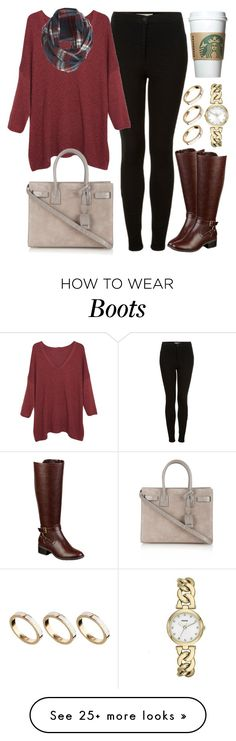 """Riding Boots"" by foreverdreamt on Polyvore featuring ASOS, Topshop, Violeta by Mango, Yves Saint Laurent, New Look, Liz Claiborne and FOSSIL"