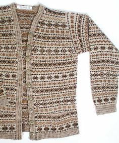Woman's allover Shetland patterned cardigan - Shetland Museum Vintage Knitting, Lace Knitting, Knit Crochet, Knitting Patterns, Fair Isles, Fair Isle Pattern, How To Purl Knit, Fair Isle Knitting, Folklore
