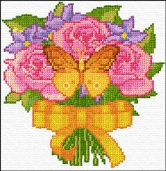 butterfly roses free cross stitch chart