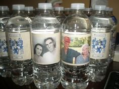 Water bottles with personalized labels make refreshing, memorable favors for a 50th birthday.  See more 50th birthday favors and party ideas at www.one-stop-party-ideas.com