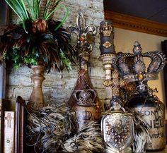 Gorgeous altered art bottles by Michelle Butler Designs.com